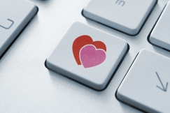 Picture of a keyboard key with two hearts