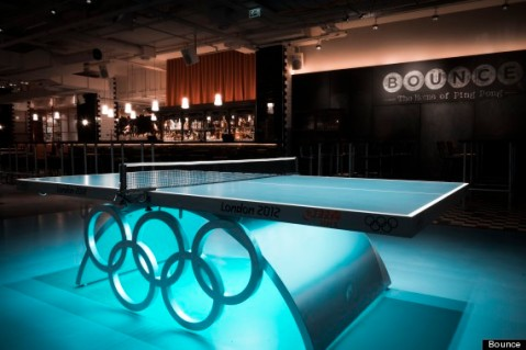Image of a ping pong table at Bounce in Holborn, London