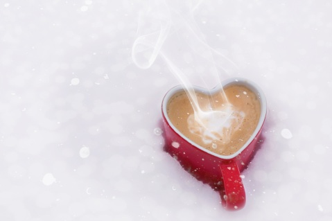 coffee cup in the snow